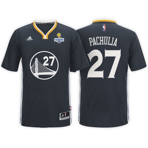 Golden State Warriors #27 Zaza Pachulia Black Champions Jersey