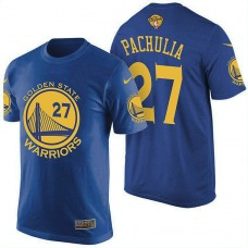 Golden State Warriors #27 Patch Zaza Pachulia 2017 Finals Blue T-Shirt
