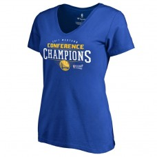 Women's 2017 Western Conference Champion Golden State Warriors Crossover Slim Fit Royal T-Shirt