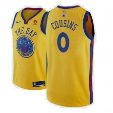 2018-19 DeMarcus Cousins Golden State Warriors City Edition Gold Jersey