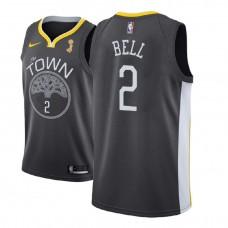 2018 NBAChampions Patch Jordan Bell Golden State Warriors Gray Jersey