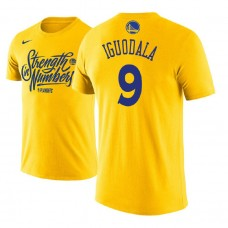 Golden State Warriors #9 Andre Iguodala Gold Name & Number T-Shirt