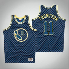 Golden State Warriors #11 Klay Thompson Royal Checkerboard Jersey