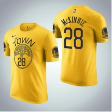 Golden State Warriors #28 Alfonzo McKinnie Earned Edition Yellow T-Shirt