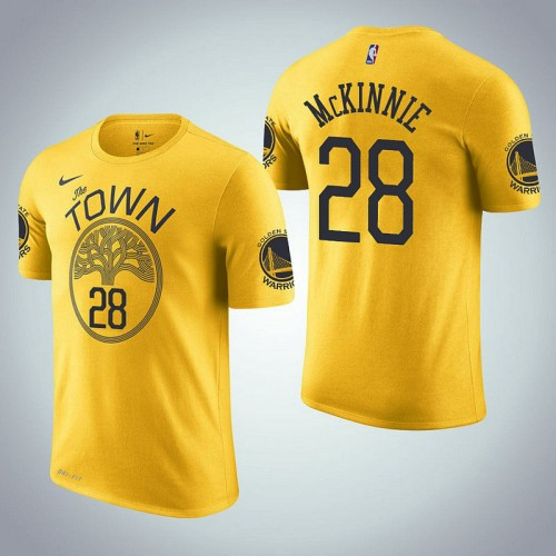Golden State Warriors #28 Alfonzo McKinnie Earned Edition Yellow T-Shirt