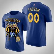 Golden State Warriors #00 Custom Royal Marvel Thor for Asgard T-Shirt