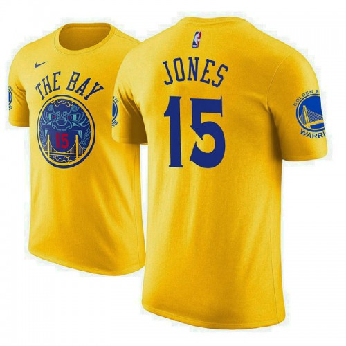 Golden State Warriors #15 Damian Jones Gold City T-Shirt
