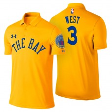 David West Golden State Warriors #3 City Edition Gold Performance Polo