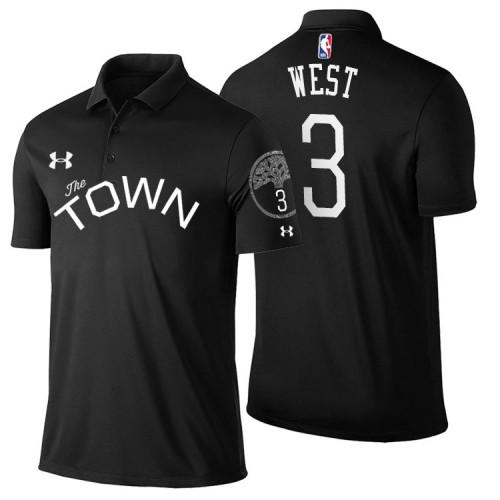 David West Golden State Warriors #3 Statement Black Performance Polo