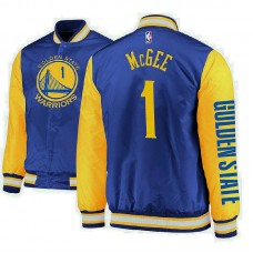 Golden State Warriors #1 JaVale McGee Royal Satin Full Snap Jacket