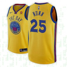 Golden State Warriors #25 Kendrick Nunn Gold City Jersey