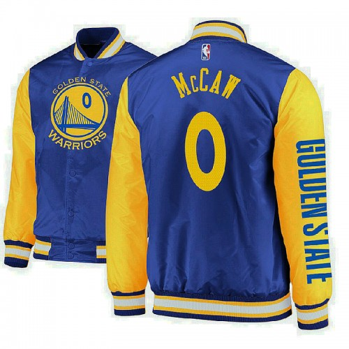 Golden State Warriors #0 Patrick McCaw Royal Satin Full Snap Jacket