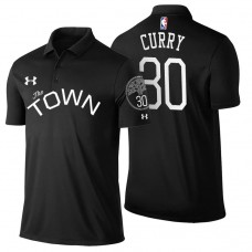 Golden State Warriors #30 Stephen Curry Black Statement Polo