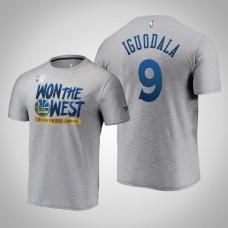 Golden State Warriors Andre Iguodala #9 Locker Room 2019 Western Conference Champions Gray T-Shirt