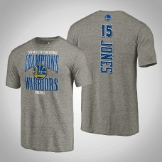 Golden State Warriors Damian Jones #15 2019 Western Conference Champions Extra Pass Tri-Blend Gray T-Shirt - Men's
