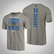 Golden State Warriors Kevin Durant #35 2019 Western Conference Champions Extra Pass Tri-Blend Gray T-Shirt - Men's