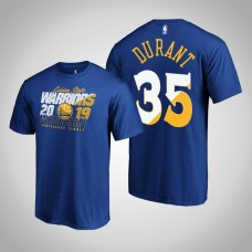Golden State Warriors Kevin Durant #35 2019 Playoffs Western Conference Finals Bound Real Flava Royal T-Shirt