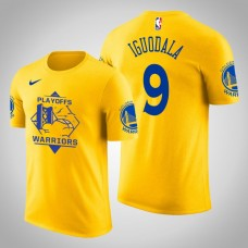 Golden State Warriors Andre Iguodala #9 2019 Playoffs Fans Name & Number Yellow T-Shirt - Men's