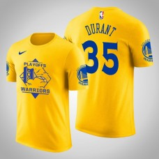 Golden State Warriors Kevin Durant #35 2019 Playoffs Fans Name & Number Yellow T-Shirt - Men's