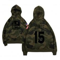 Golden State Warriors #15 Damian Jones Camo Name & Number Hoodie