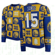 Golden State Warriors #15 Damian Jones Gold 2018 Christmas Sweater