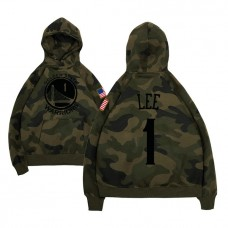 Golden State Warriors #1 Damion Lee Camo Name & Number Hoodie