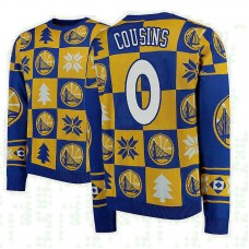 Golden State Warriors #0 DeMarcus Cousins Gold 2018 Christmas Sweater
