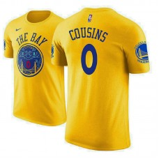 DeMarcus Cousins Golden State Warriors #0 City Edition Gold T-Shirt