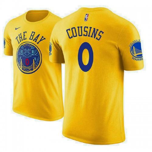 DeMarcus Cousins Golden State Warriors #0 City Edition Gold T-Shirt