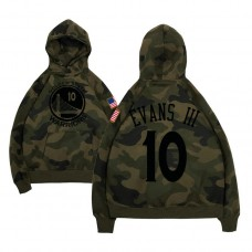 Golden State Warriors #10 Jacob Evans III Camo Name & Number Hoodie