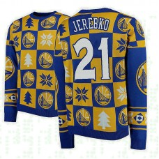 Golden State Warriors #21 Jonas Jerebko Gold 2018 Christmas Sweater