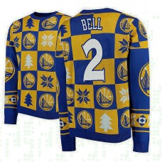 Golden State Warriors #2 Jordan Bell Gold 2018 Christmas Sweater