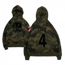 Golden State Warriors #4 Quinn Cook Camo Name & Number Hoodie