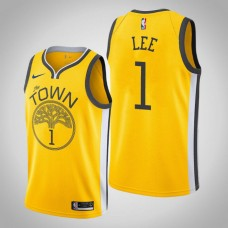 Damion Lee Golden State Warriors #1 Earned Edition Yellow Jersey