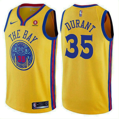 2017-18 Kevin Durant Golden State Warriors #35 Gold Jersey