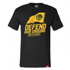 2017 Playoff Golden State Warriors Defend Our Ground Comfy Black T-Shirt