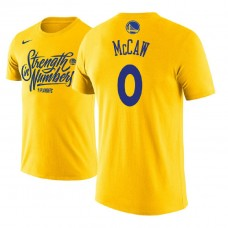 Golden State Warriors #0 Patrick McCaw Gold Name & Number T-Shirt