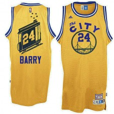 Golden State Warriors #24 Rick Barry Yellow Hardwood Classics Jersey