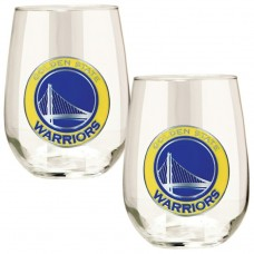 Golden State Warriors Transparent Stemless Wine Glass Set