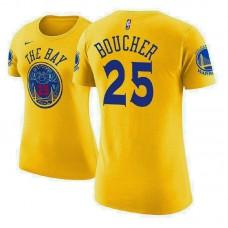 Women's Golden State Warriors #25 Chris Boucher Gold City T-Shirt