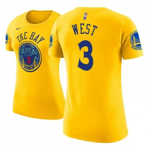 Women's Golden State Warriors #3 David West Gold City T-Shirt