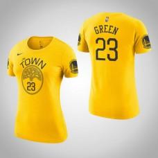 Women's Golden State Warriors #23 Draymond Green Gold Earned T-Shirt