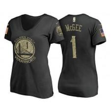 Women's JaVale McGee Golden State Warriors #1 USA Flag Camo T-Shirt