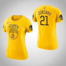 Women's Golden State Warriors #21 Jonas Jerebko Gold Earned T-Shirt