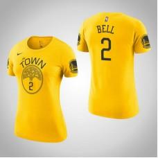 Women's Jordan Bell Golden State Warriors Earned Gold T-Shirt