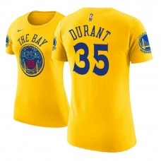 Women's Golden State Warriors #35 Kevin Durant Gold City T-Shirt