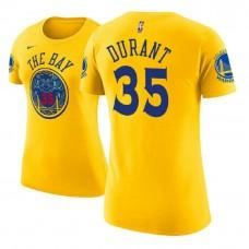 Women's Golden State Warriors #35 Kevin Durant Gold City T-Shirt
