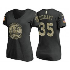 Women's Golden State Warriors #35 Kevin Durant Camo Name & Number T-Shirt