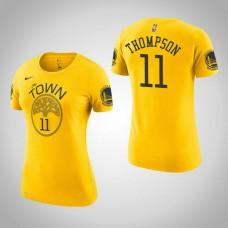 Women's Golden State Warriors #11 Klay Thompson Gold Earned T-Shirt