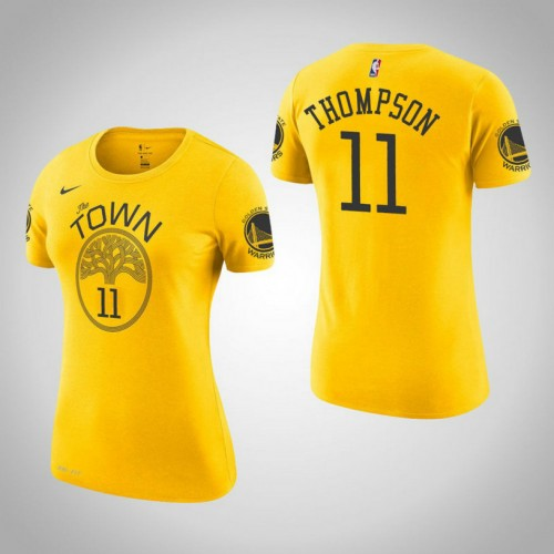 Women's Golden State Warriors #11 Klay Thompson Gold Earned T-Shirt